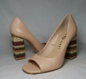 Katy Perry The Catie Open Toe Pumps Heel Shoes Size 8.5M Nude Tan