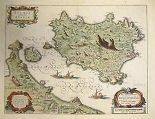 1640 Beautiful Blaeu Map of the Resort Island of Ischia in Naples Italy