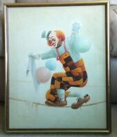 "VTG  ""WALKING ON TIGHTROPE"" CLOWN PAINTING Signed HOPPIN OIL CANVAS Framed"