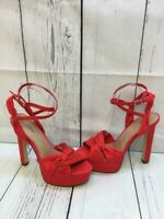 CALL IT SPRING Red Suede Ankle Strap Platform Sandal High Heels Women's Size 8