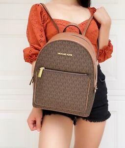 Michael Kors Kenly Medium Adina Backpack Pebbled Leather Brown MK Signature
