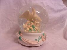 Birds on branch with flowers music snow globe