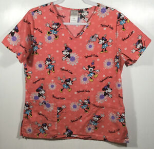 Minnie Mouse Scrub Top womens size S Small Disney Natural Cutie pink