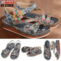 Women's Summer Open Toe Retro Floral Sandals Ladies Comfy Ankle Strap Shoes Size