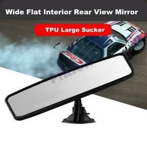 Car Interior Rear View Mirror Suction Fix Windshield Wide Flat Rearview Mirror