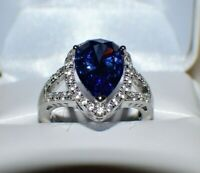 7.67 ct PREMIUM AAA TANZANITE & 36 DIAMONDS WEDDING GYPSY 14K WHITE GOLD FILL 9