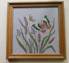 "Needle Point with Butterflies and Cat Tails Framed 10 x 10"" Made by Hand"