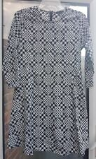 NEW LOOK Ladies Black/White Print Summer 3/4 Sleeve Dress Size 8 / 36