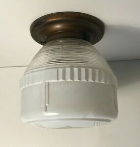 Antique brass milk glass flush mount ceiling light fixture 1940s Art Deco
