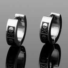 2pcs Fashion Pirate Skull Stainless Steel Hoop Ear Studs Earrings For Women Men