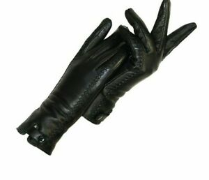 Female Fluff Winter Warmer Mittens Genuine Leather Material Solid Pattern Gloves
