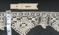 3yds Antique Net Lace Trim Darned Primitive Fragment Flounce Sewing Costumes A22