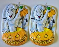 Set of 2 Vintage Artform GHOST Pumpkin Spider Plastic 3-D Halloween Decoration
