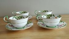 Vintage British Aynsley Bone China Set of 4 Floral Cups and Saucers W/ Gold Trim