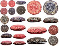 Indian Mandala Floor Pillows Round Boho Meditation Cushion Cover Ottoman Pouf