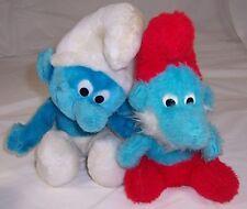 2 Vintage Smurf Papa,Peyo,Wallace Berrie,PLUSH Stuffed Animals