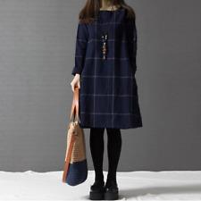Lagenlook Minikleid Tunika Schlupf Long Bluse Marine Baumwolle 42 44 46 *Neu*