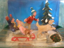 LEMAX TABLE ACCENT~2010~VILLAGE ACCESSORY~#9289190~KIDS,SLED,DOG,SNOW~NIOP