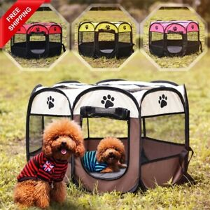 Portable Pet Puppy Soft Tent Playpen Dog Cat Folding Crate Waterproof Outdoor