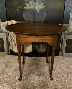 Vintage Solid Oak Wood End Side Table Oval Queen Anne Style