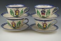 VTG FRENCH FAIENCE MBFA PORNIC SET OF 4 BREAKFAST CUPS AND SAUCERS BRETON LADY