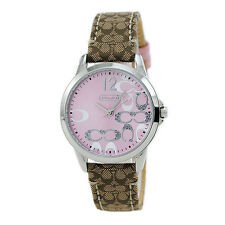 aa37dc4cc93db Coach 14501621 CLASSIC BROWN LEATHER BAND PINK GLITZ DIAL WOMENS WATCH