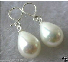 12X16mm teardrop White Shell Pearl Silver hook Dangle Earrings