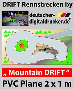 Mountain DRIFT Rennstrecke - RC Cars 1:43 - Robuste Plane 4 farbig- 2 x 1 m groß