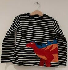 Jojo Maman Bebe Boys Age 2-3 Long Sleeve Stripe Dinosaur Applique T Shirt