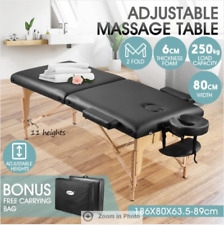 Adjustable 80cm Full Body Massage Bed Beauty Treatment Bed w/ Carrying Bag Black