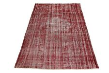 Handmade Contemporary Modern Area Carpet 6'8x10'4 Hand Knotted Overdyed Red Rug