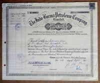 India 1962 The Indo Burma Petroleum Company, Ltd. share certificate