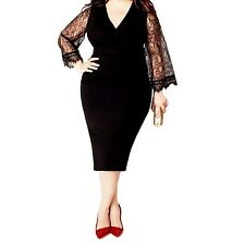 Idomcats Womens V Neck Plus Size Bodycon Lace Party Stretchy Midi Dress Black 18