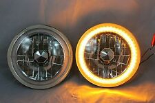 1965 1973 Ford Mustang 7 Round 601460156024 Amber Led Smd Halo Headlights