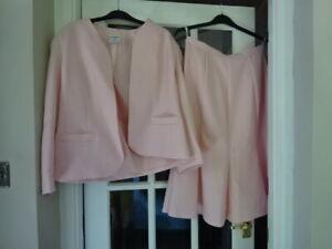 Vintage Eastex Suit Jacket & Skirt Size 16 Euro 42 Pink Washable