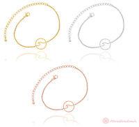 Armband Armbänder Welle Ozean Rund Kreis Anhänger Gold Silber Rosegold Edelstahl