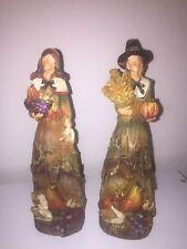 Beautiful Pair of Festive Autumn / Thanksgiving Resin Pilgrim Figures Decor