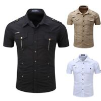 Mens Tactical Cargo Casual Shirt Military Short Sleeve Fashion Tops Dress Shirt