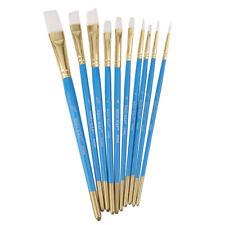 10pcs/Set Artist Watercolor Paint Brushes Flat Synthetic Acrylic Blue