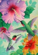 "FM196 2 HUMMINGBIRDS FLOWERS BY CUSTOM DECOR SUMMER 12""x18"" GARDEN FLAG BANNER"