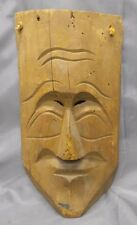 Old Vintage Hand Carved Wooden Hawian Polynesian Tiki Mask Ethnic Native Wood...