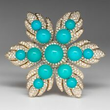 Vintage Flower Diamond Turquoise 14k Yellow Gold Over Designer Brooch Pin 1 PC