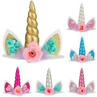 Unicorn Topper Cute Baby Birthday Cake Decor Horn Ear Flower Party Ornaments HOT
