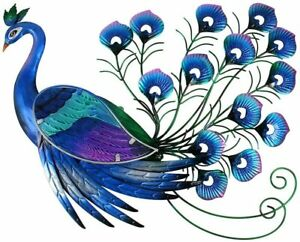 Liffy Metal Peacock Wall Art Hanging Glass Decoration for Home, Garden or Front