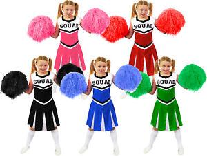 GIRLS CHEERLEADER COSTUME WITH JUMBO POM POMS CHEER LEADER SQUAD FANCY DRESS