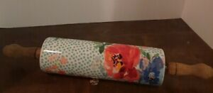 Pioneer Woman Ceramic Floral Melody Rolling Pin With Acacia Wood Handles