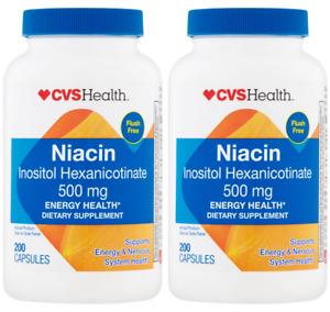 2 PACK - CVS Health Niacin Capsules 500 mg, 200CT Flush Free