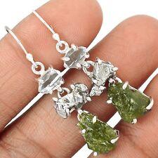 Genuine Czech Moldavite 925 Sterling Silver Earrings Jewelry SE129181
