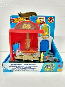 *NEW* Hot Wheels City Downtown Fire Station Spinout Play Set