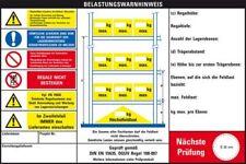 Belastungswarnhinweis Palettenregale,3 Einh.,DGUV 108-007,Kunststoff,300x200mm